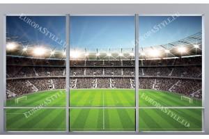 Фототапети имитация на прозорец изглед стадион цветен в 2 варианта