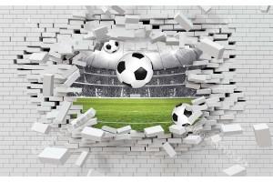 Фототапет 3д разбита стена с изглед стадион и футболна топка