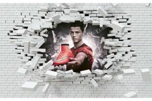 фототапет 3д ефект разбита стена с Роналдо