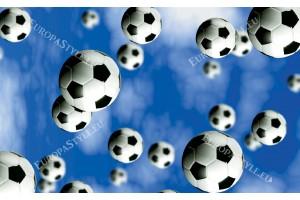 Фототапет футболни топки на син фон