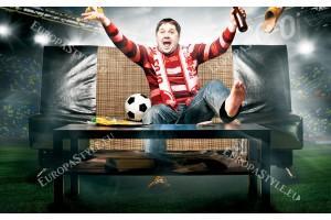 Фототапет футболен запалянко в червено