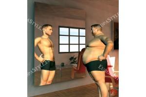 Фототапети забавен модел мъж пред огледало