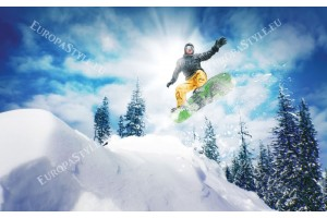 Фототапет зимен спорт красив изглед планина
