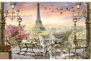 Фототапет ретро тераса с изглед от Париж кафене