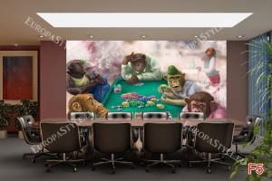 Фототапети рисувани маймуни играят покер