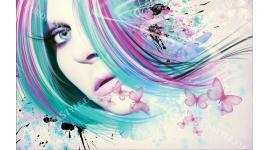 Фототапети арт жена художествен модел с пеперуди