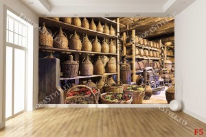 Фототапети винарска изба дамаджани и кошници с грозде