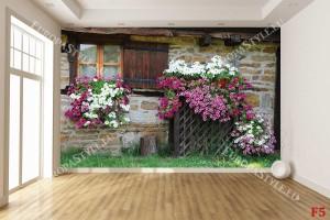 Фототапети красива малка къща с цветна фасада