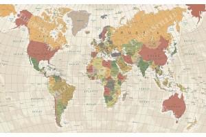 цветна карта на света разграфена в 2 цвята