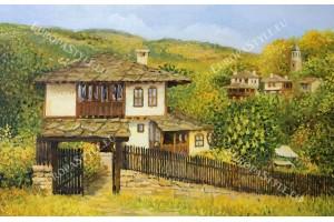 Фототапет рисуван пейзаж старо българско село с камбанария