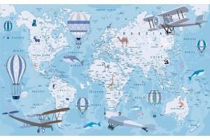 Фототапет детска карта на света със самолети и животни в 3 варианта