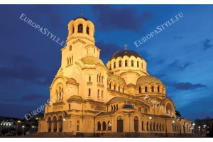 Фототапет нощен изглед на църква в София
