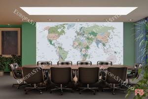Фототапет политическа карта на света сив фон
