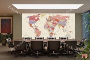 Фототапет политическа карта на света бежов фон