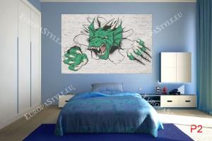 Фототапети тухлена стена със звяр-чудовище в 2 цвята