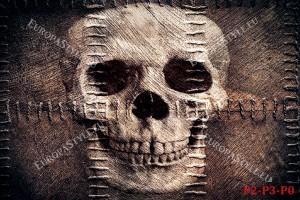 Фототапети череп с текстура на плат и шевове
