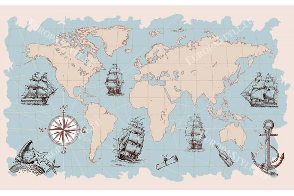 графична карта на света и кораби в 2 пастелни цвята