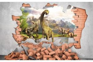 Фототапет стена разбити тухли с изглед динозаври