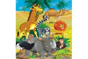 Фототапети детски африкански животни жираф и др.