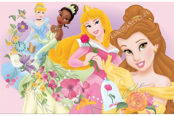 Фототапети  модел с принцесите на дисни и цветя