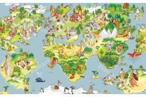 Фототапет детска карта на света с животни в 3 варианта
