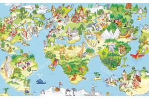 Фототапет детска карта на света с животни в 4 варианта
