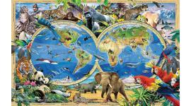детски фототапет с рисувани животни с 3д ефект и карта на света
