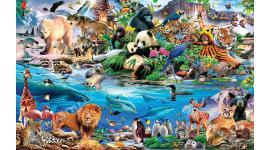 Детски фототапет 3д колаж с всички рисувани животни