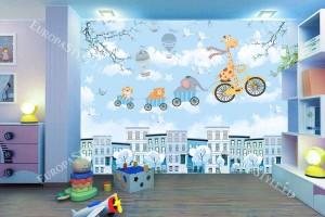 Фототапет детски модел с облачета летящи животни