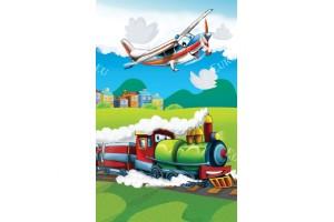Фототапет детско влакче и самолет