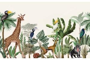 Фототапет джунгла с рисувани животни