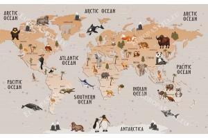 Фототапет детска бебешка карта на света с животни в 3 цвята