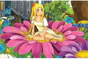 Фототапет малко момиче в голямо розово цвете