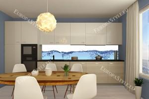 Фотопринт за кухня с водни сини капки