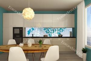 Фотопринт за кухня арт листа синя гама
