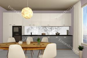Фотопринт за кухня арт листа сива гама