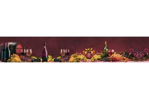 Фотопринт за кухня композиция вино и грозде бордо фон