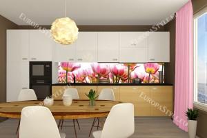 Фотопринт за кухня с градински лалета