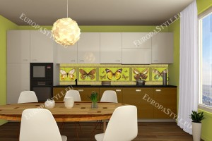 Фотопринт за кухня пеперуди зелена гама