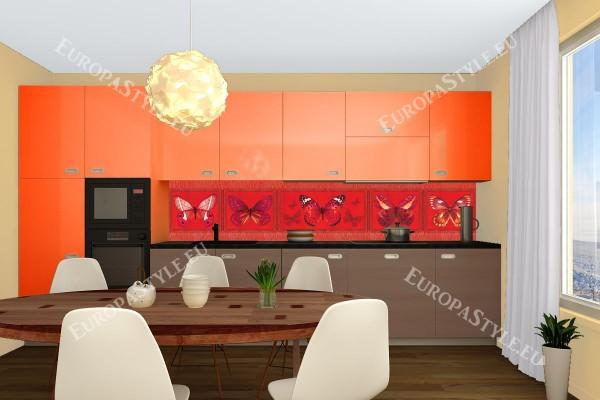 Фотопринт за кухня пеперуди червена гама