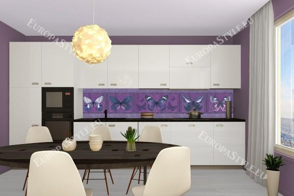 Фотопринт за кухня пеперуди лилава гама