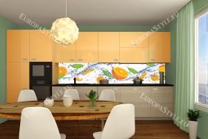 Фотопринт за кухня цитруси и листа в оранжева гама