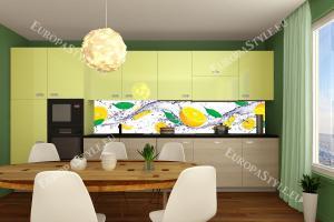 Фотопринт за кухня цитруси и листа в жълта гама