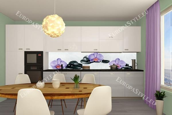 Фотопринт за кухня лилави орхидеи и спа камъни