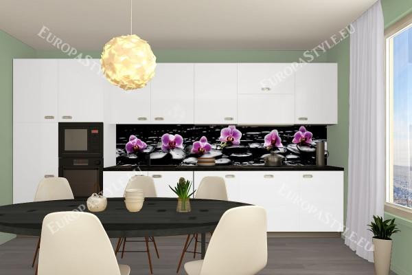Фотопринт за кухня розови орхидеи черен фон
