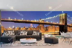 Фототапети макси размер Бруклински мост градски нощен изглед