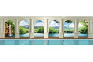 Фототапети макси кoлони с вода изглед лагуна водопад