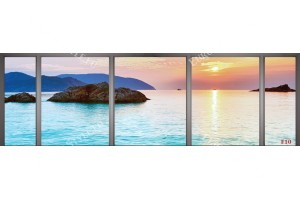 Фототапет макси размер изглед морски залез през прозорец
