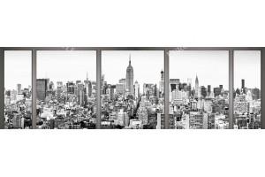 Фототапети макси размер изглед черно бял Ню Йорк през прозорец