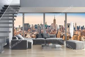 Фототапети макси размер изглед цветен Ню Йорк през прозорец